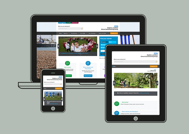 NHS Brighton and Hove homepages on multiple devices
