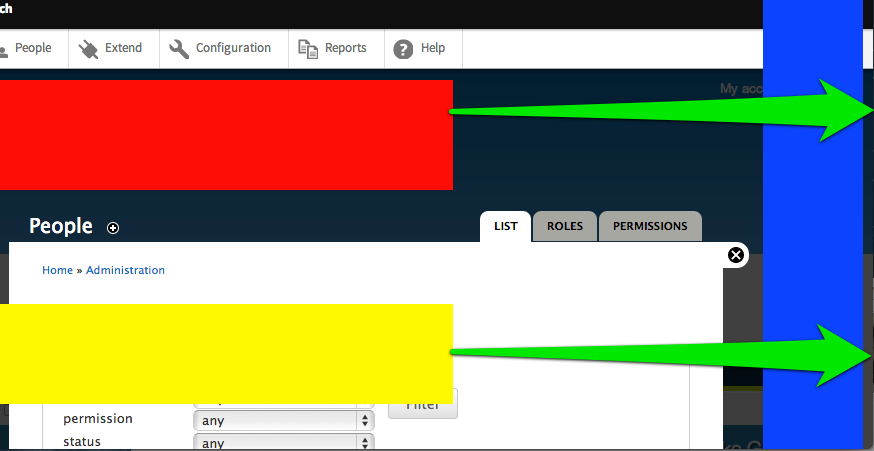 Screenshot of the overlay. There are two elements that appear to be cut off on the right side because the overlay is setting a max-width on them that is much more narrow than the document