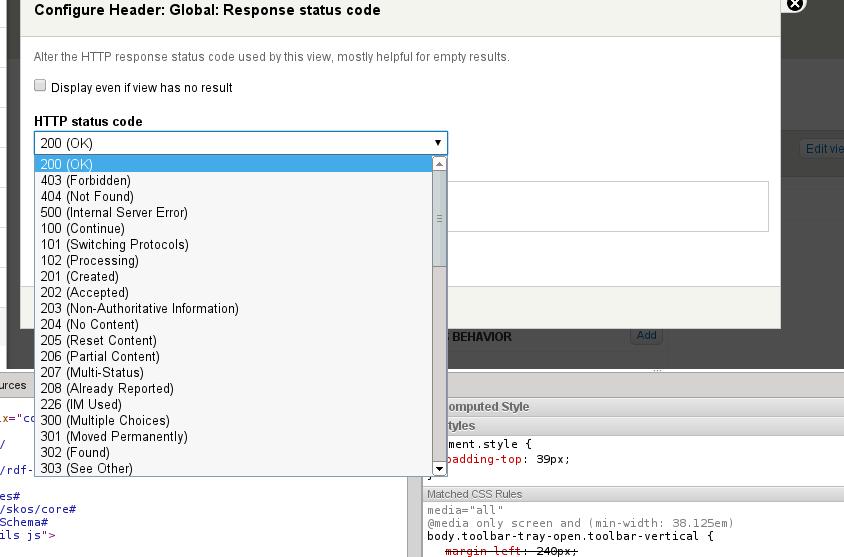 Add a HTTP response code area handler [#1849356] | Drupal org