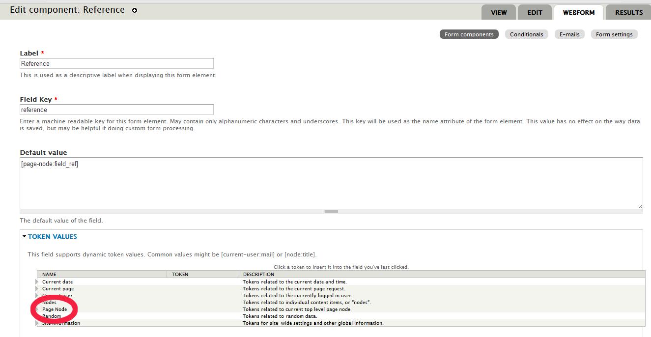 Getting node tokens into Webform block [#1470748] | Drupal org