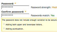 screenshot: password strength feedback