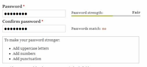 Password strength test screenshot