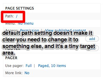screenshot of the Views UI page showing the easy-to-miss default path setting