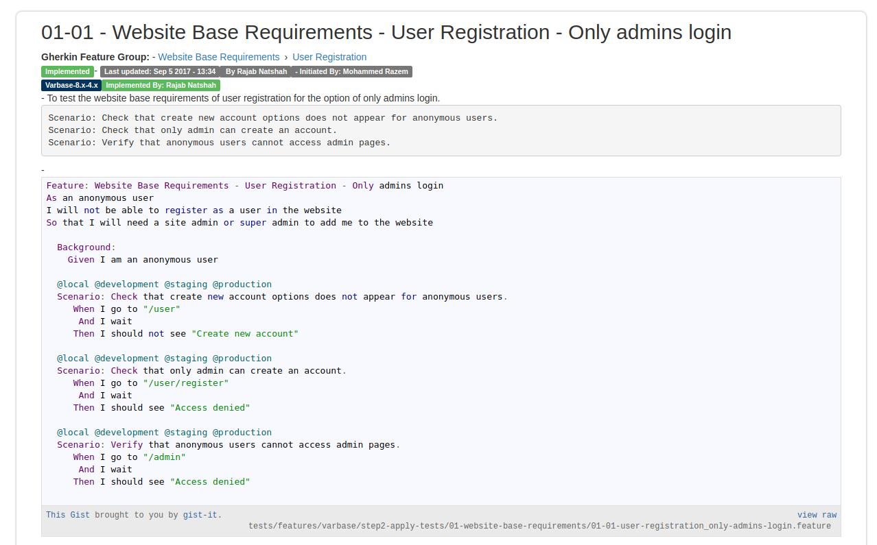 Website Base Requirements - User Registration - Only admins login - VPC cucumber 2
