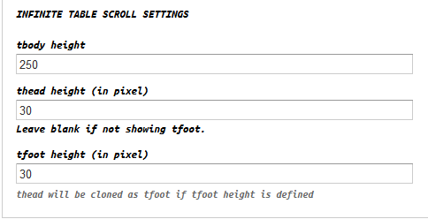 Views infinite table scroll for Table thead tbody