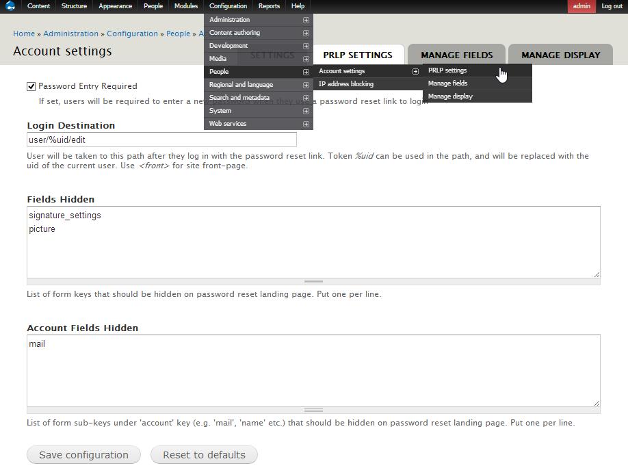 Password Reset Landing Page (PRLP) | Drupal org
