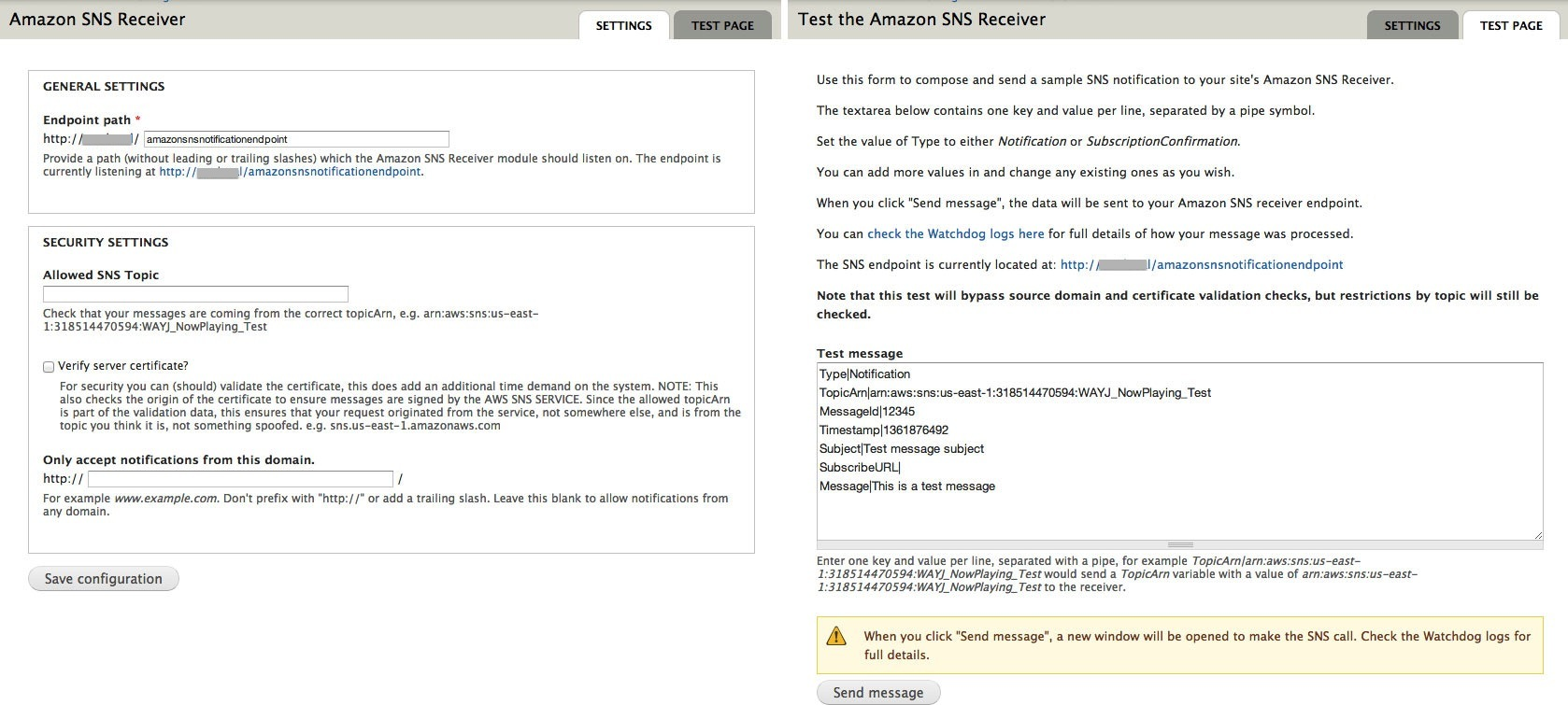 Amazon SNS Endpoint | Drupal org