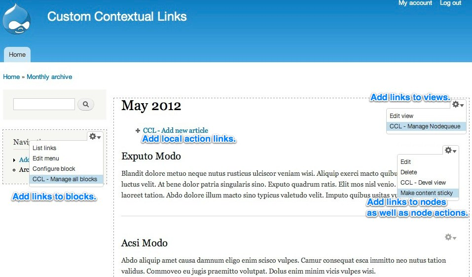 Custom Contextual Links Features