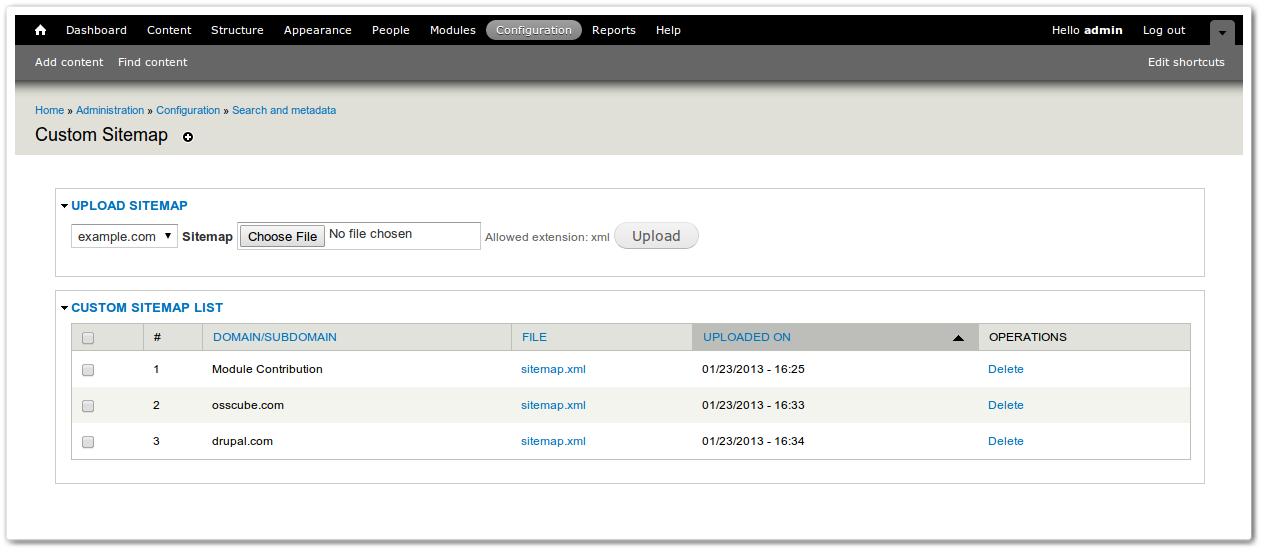 custom sitemap drupal org