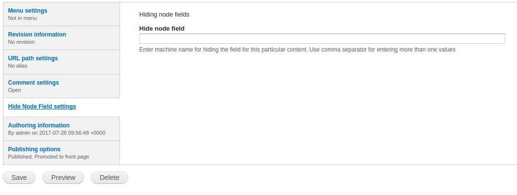 Hide node field   Drupal org