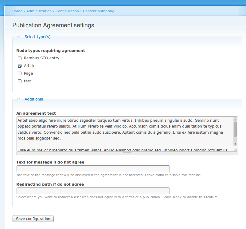 Publication Agreement:  Module settings page.