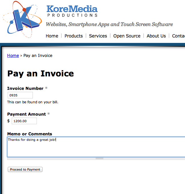 Ubercart Invoice Payment Form  Invoice For Payment