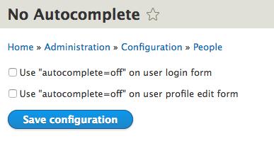 No Autocomplete | Drupal.org