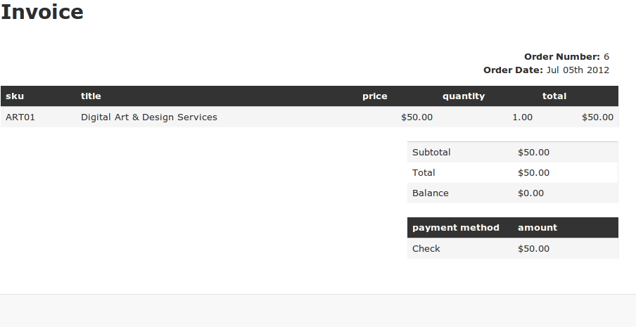 commerce simple invoice | drupal, Invoice examples