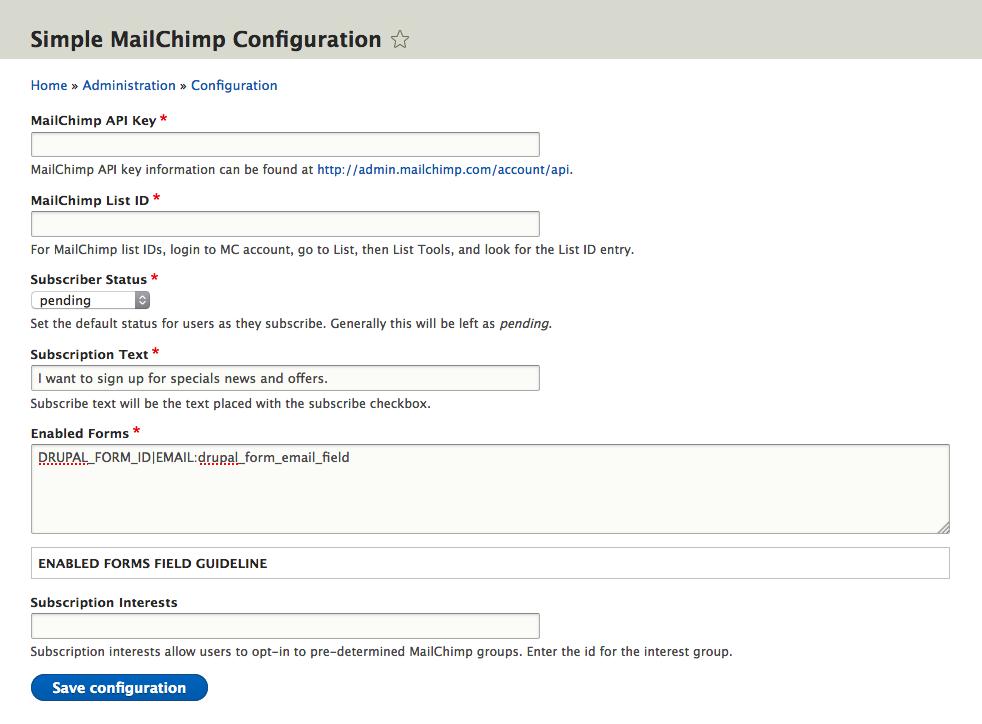 Simple MailChimp | Drupal org