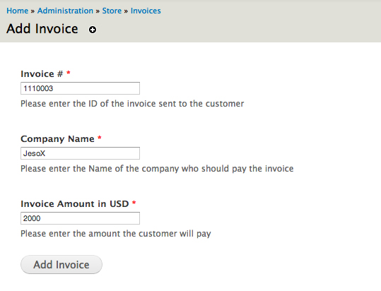 Commerce Invoices Drupalorg - Pay the invoice