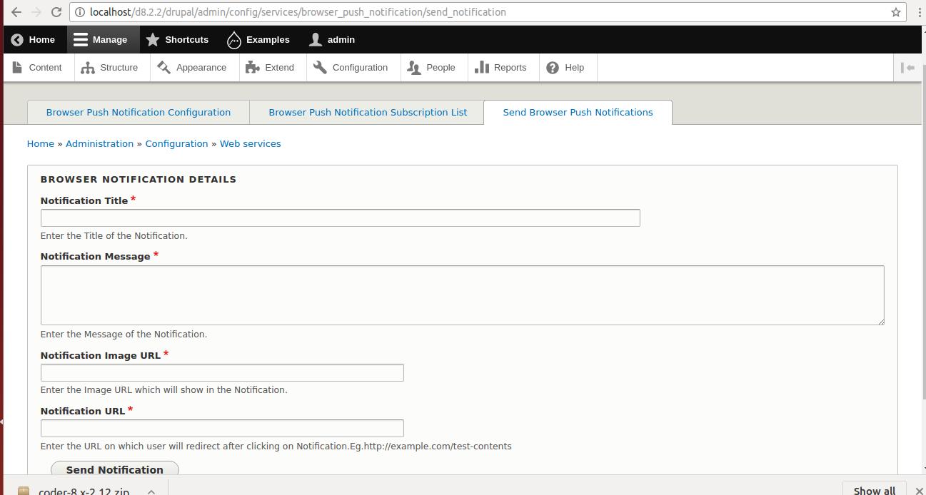 Browser push notification   Drupal org