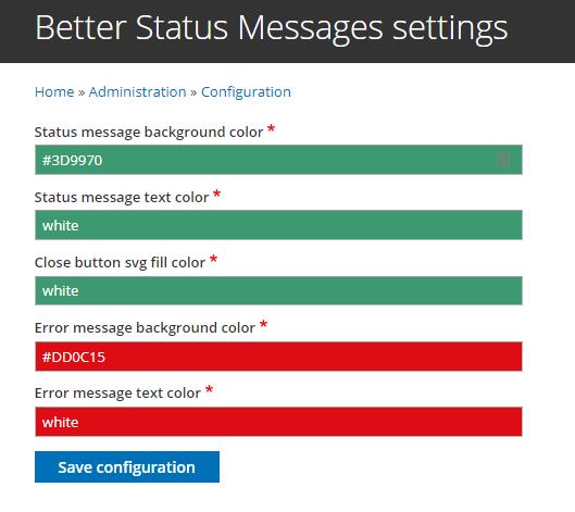 better status messages drupal org