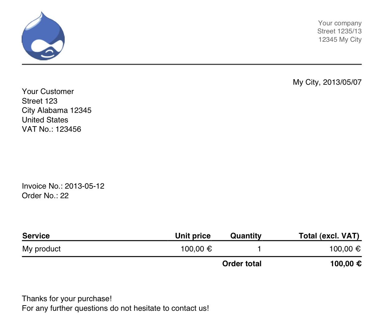 Commerce Billy Drupalorg - Order invoice