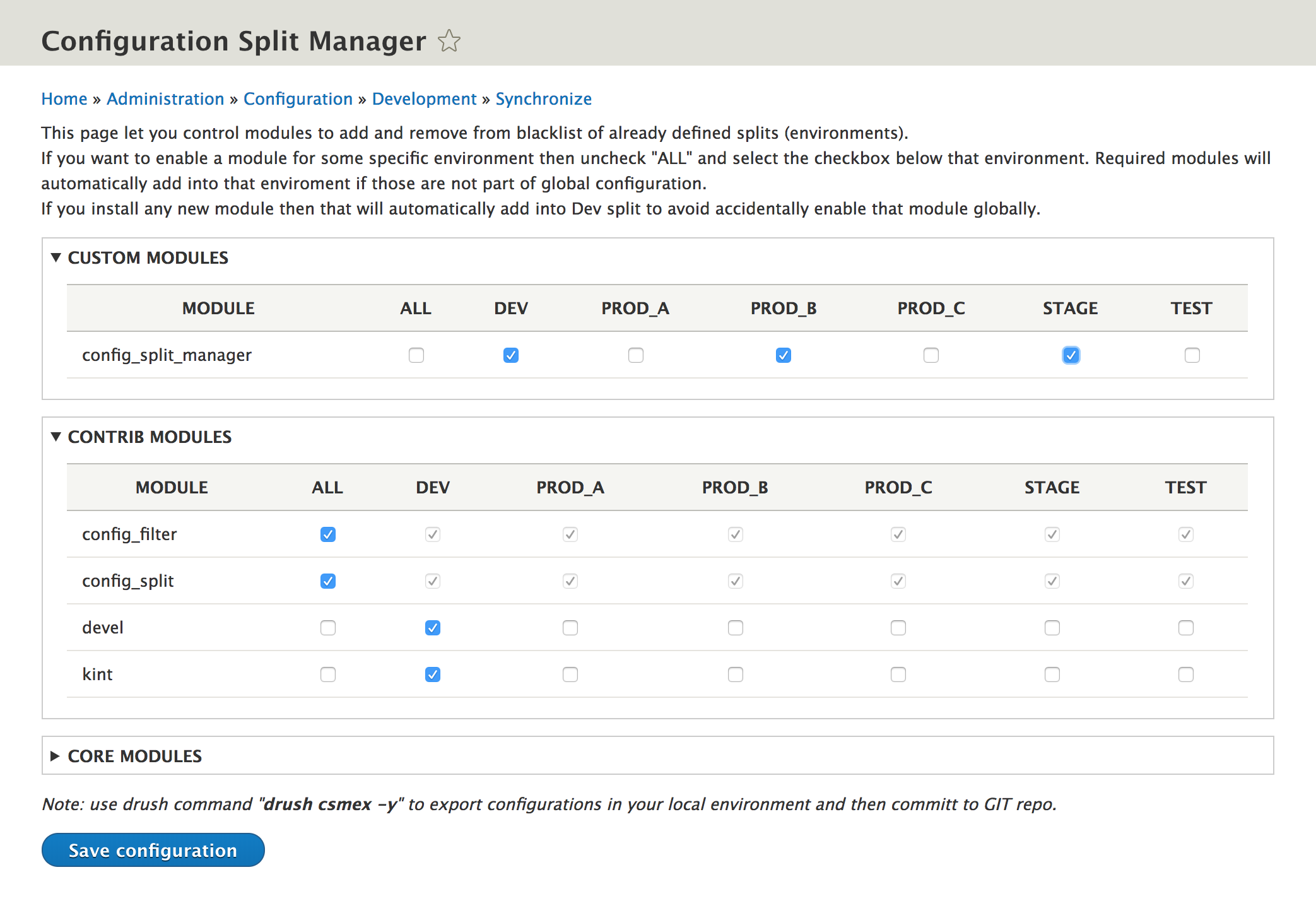 Configuration Split Manager | Drupal org