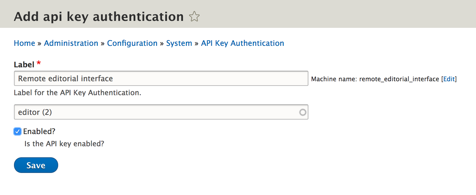 Interface for creating an API Key relation between a user and authentication key & secret
