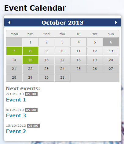 Good This Module Based On JQuery Event Calendar Will Display An Event Structure  With Date Field In Calendar Formats. Previous And Next Navigation Is  Provided For ...