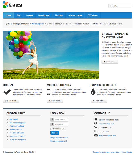 Breeze a drupal 8 bootstrap theme for Protostar template layout