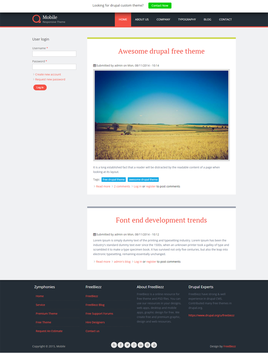 drupal 7 free responsive themes with slider