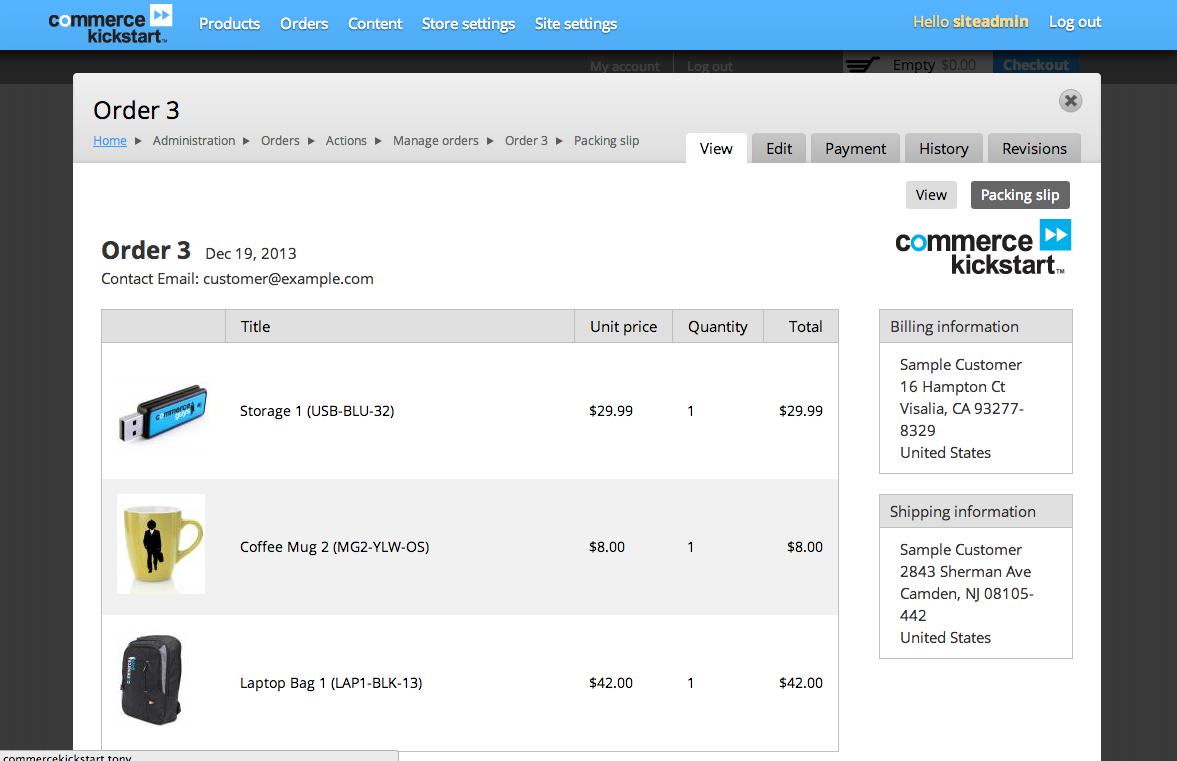 Drupal Commerce screenshot