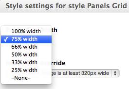 Select Panel Pane sizes