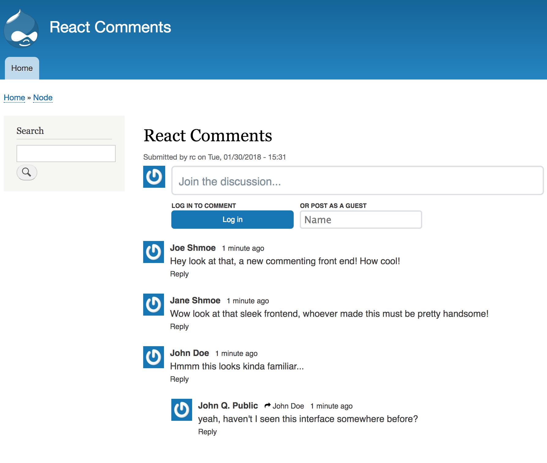 React Comments Drupal Org