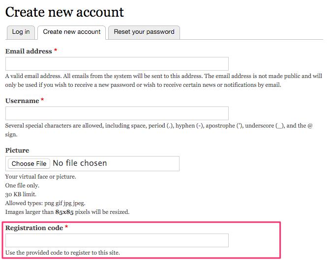 registration code simple drupal org