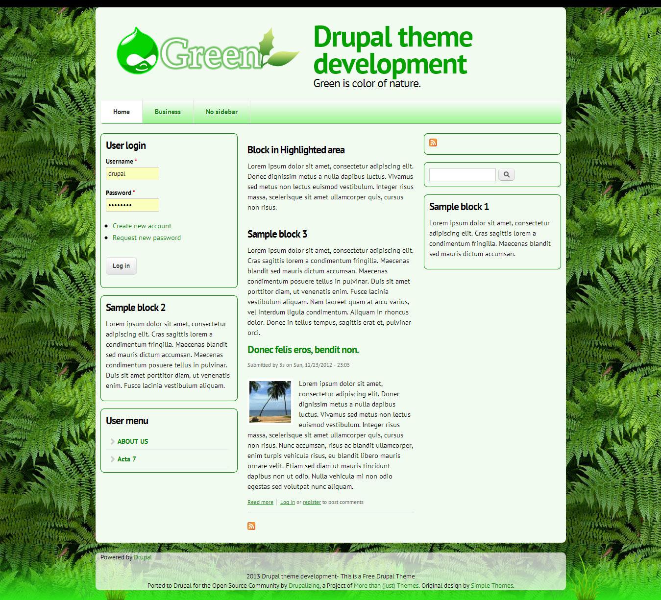 drupal green theme