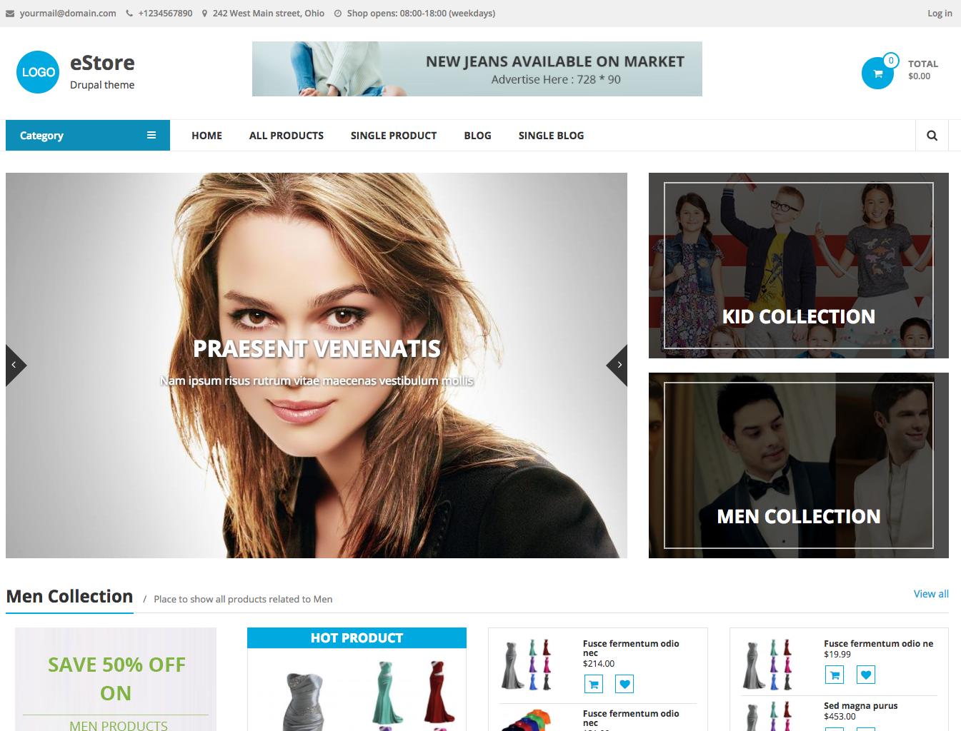 Media center multipurpose drupal theme | ecommerce template, psd.