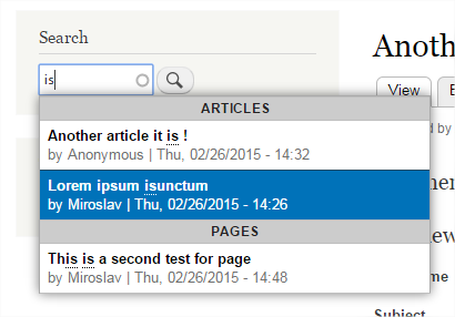 Search Autocomplete | Drupal org