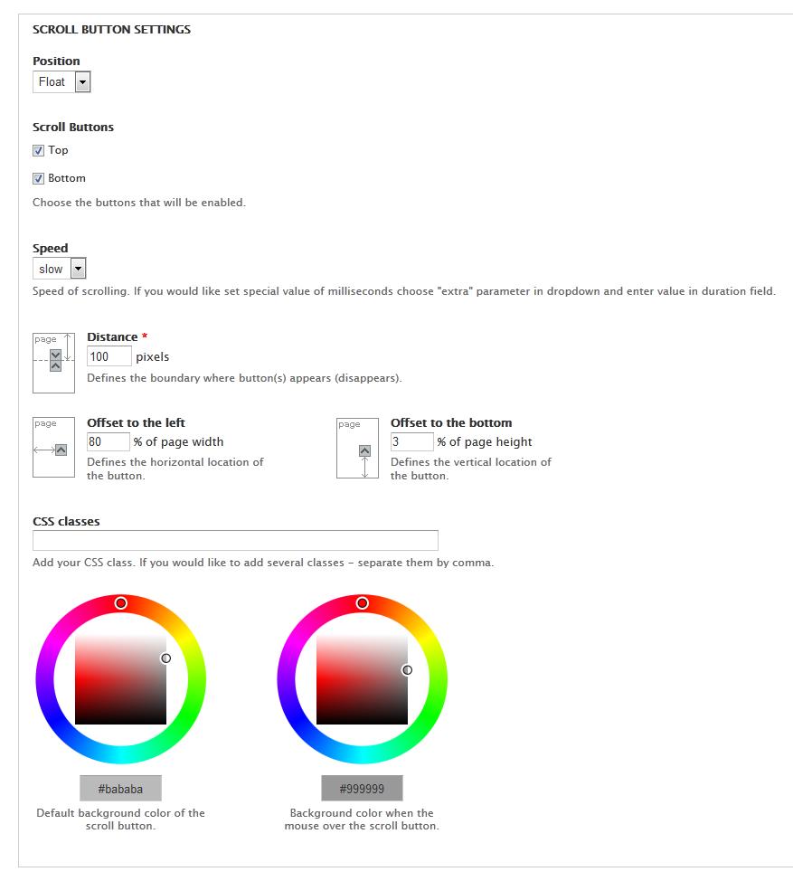 Scroll button | Drupal org
