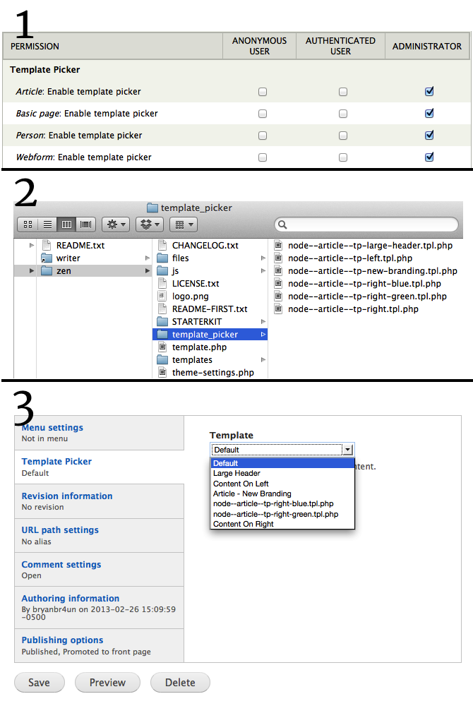 Template Picker Select Box Listing Example Templates