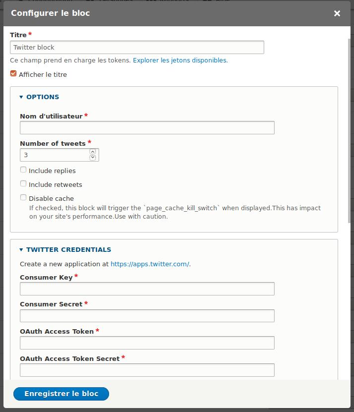 Twitter API Block | Drupal org