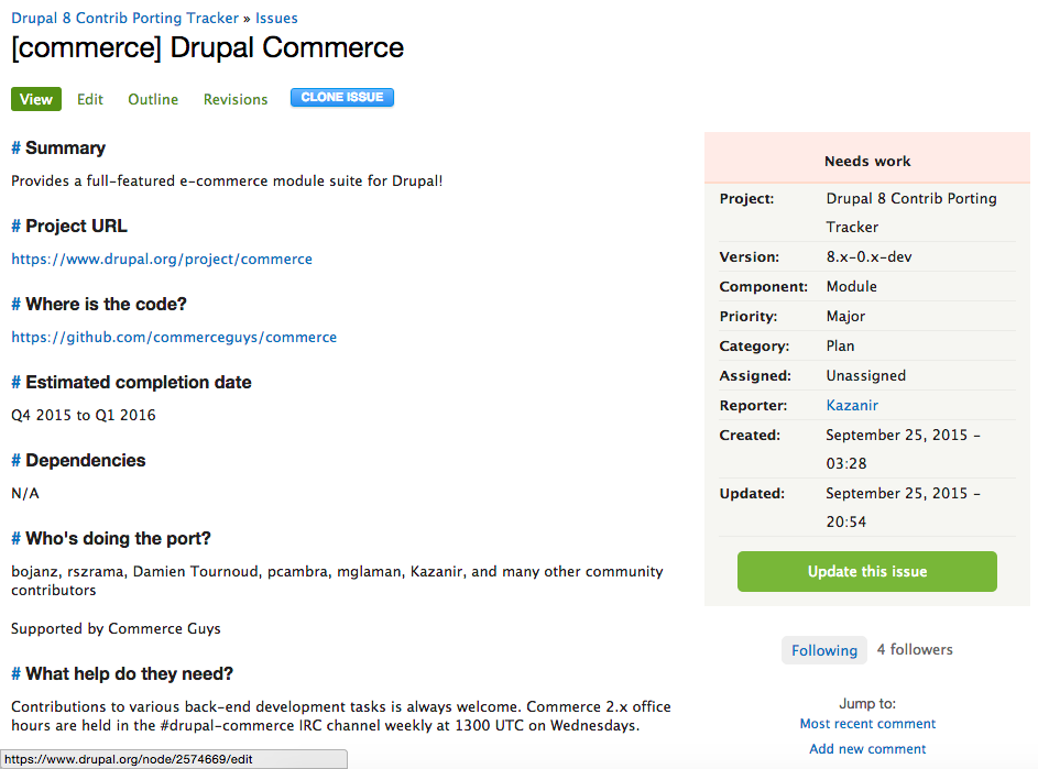 Project page for Drupal Commerce.