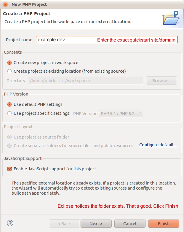 Setting up Drupal Quickstart projects in Eclipse (with Git