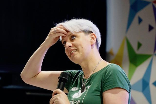 Rachel speaking in Chișinău, Moldova. Used with permission of Drupal Moldova