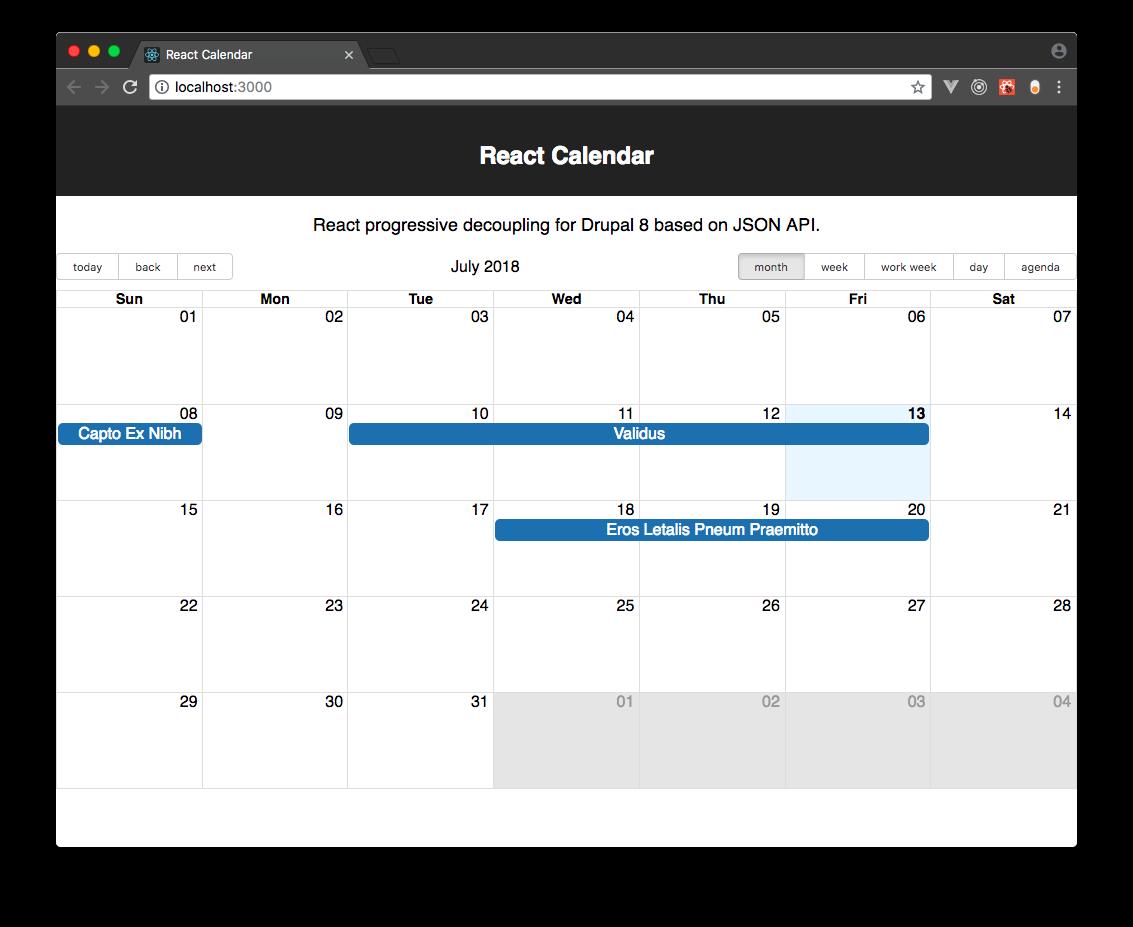 React Calendar Drupal Org