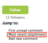 The top right section of an issue page with the 'Most recent attachment' link highlighted.