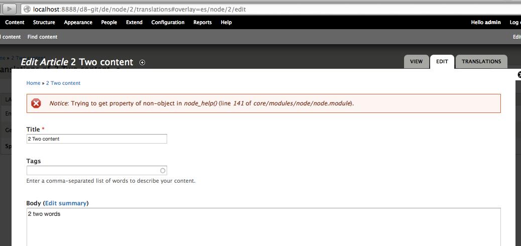 Entity translation UI in core [#1188388] | Drupal org