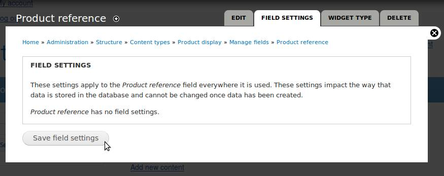 In the next window, just click on 'Save field settings.'
