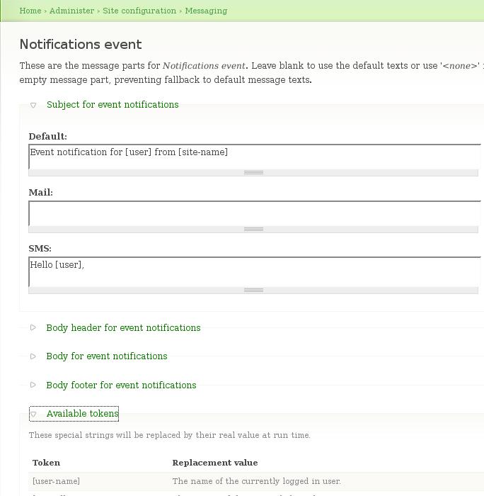 drupal notification templates