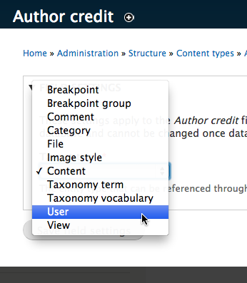 Field settings direct you to determine which entity to reference. You can select from many options such as Content, Taxonomy Term, and View.