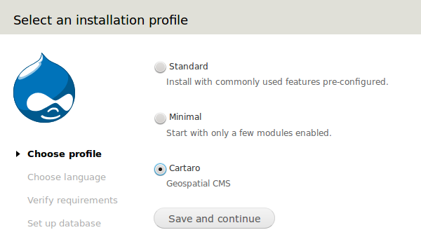 Select Cartaro Installation Profile