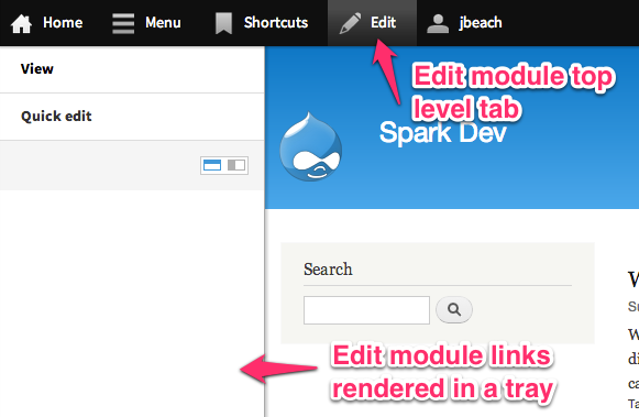 screenshot of the edit module tab and tray in the toolbar.