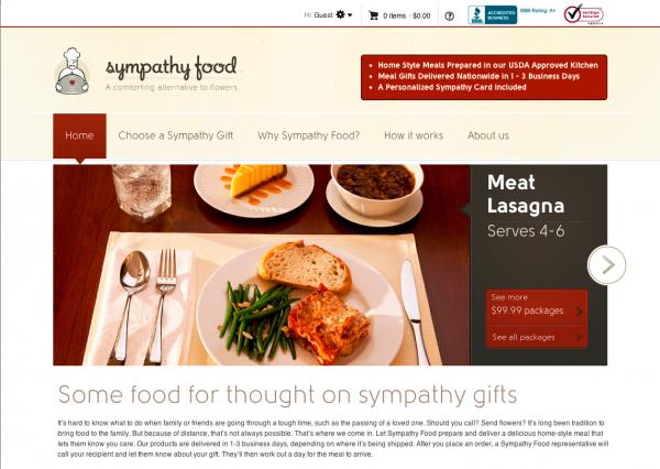 SympathyFood.com homepage screenshot